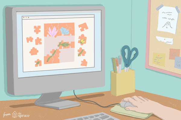 Illustration of jigsaw puzzle on computer screen