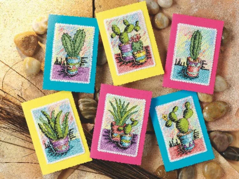 A cacti landscape cross-stitch