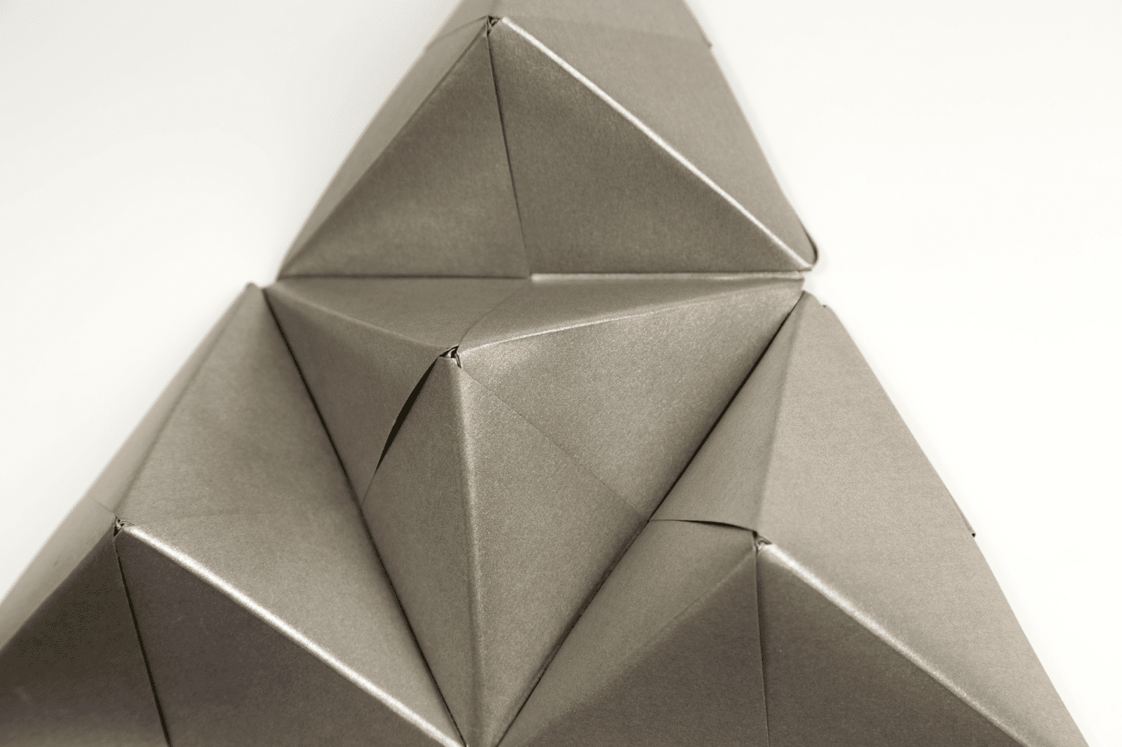 A finished origami Sonobe wall display
