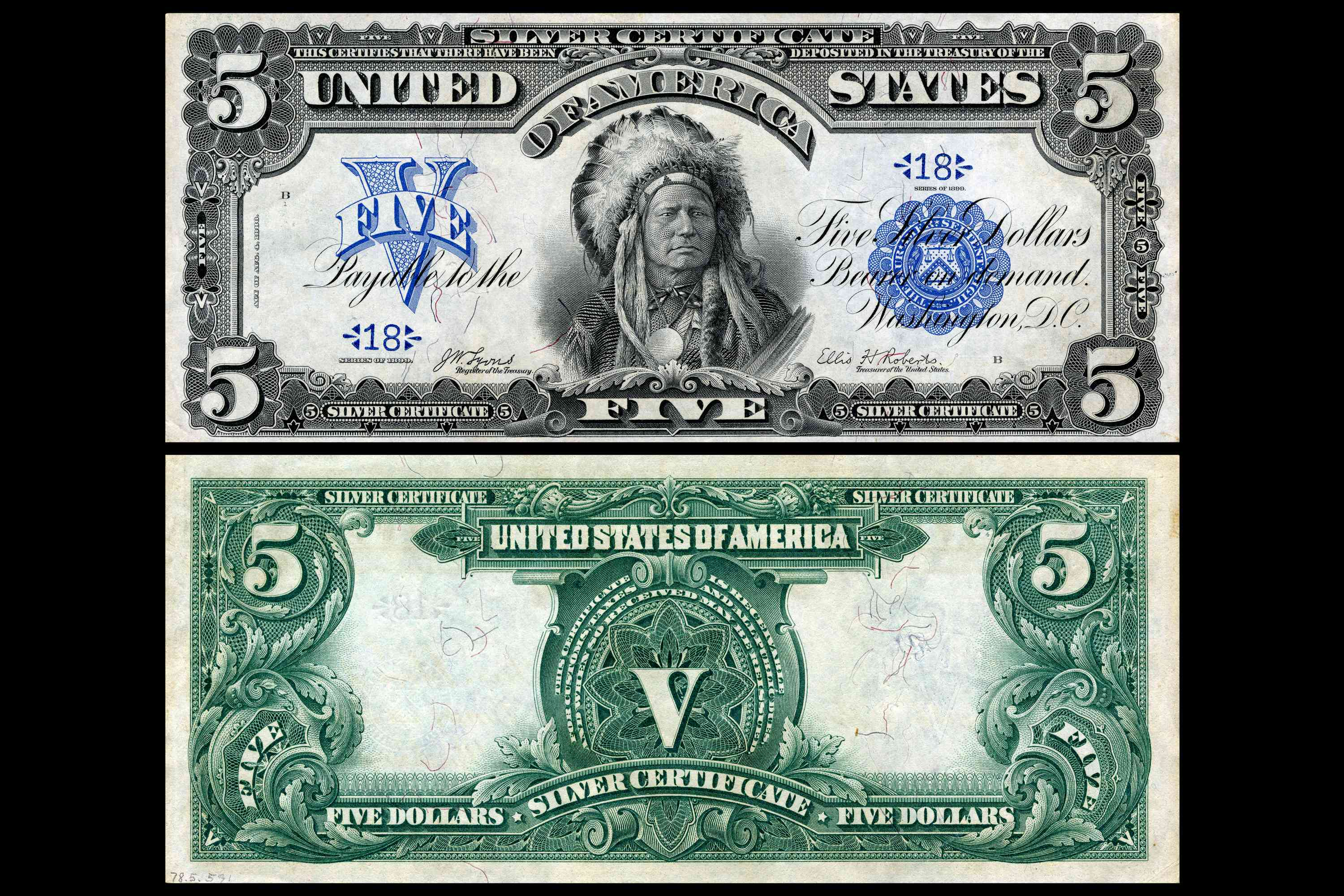 1899 Indian Chief $5 Silver Certificate