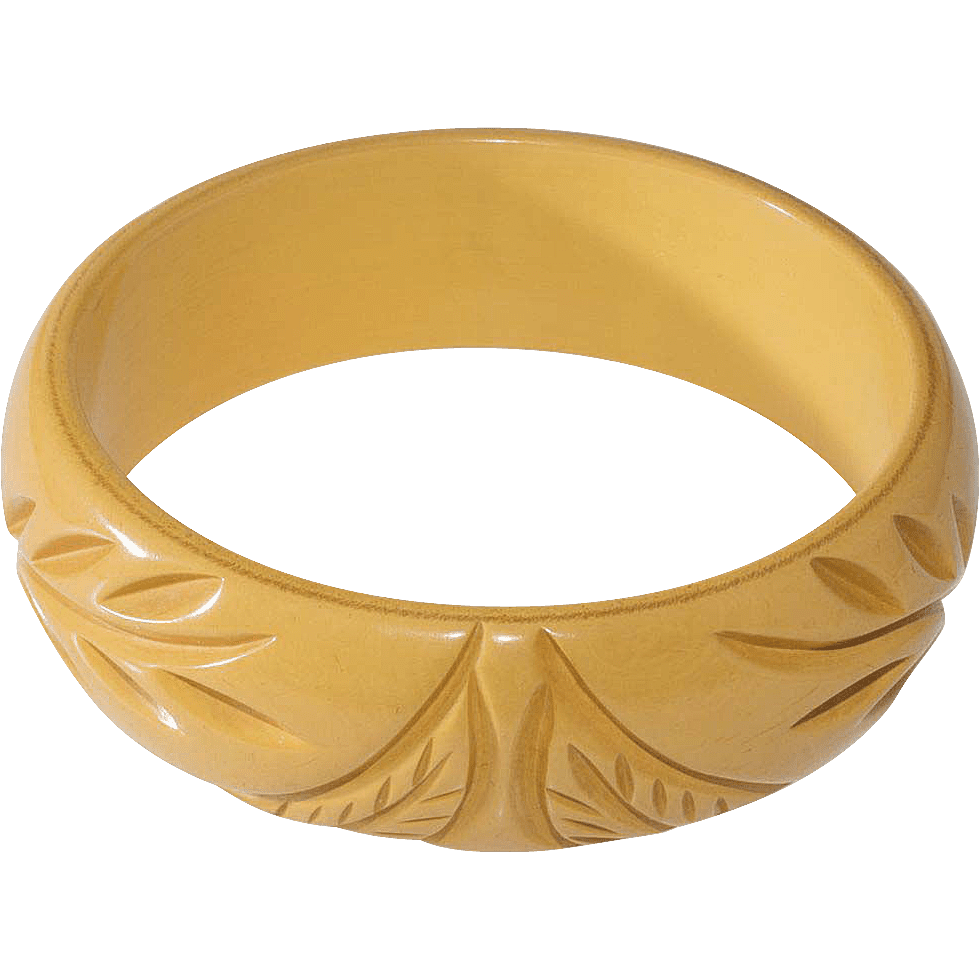 Carved bakelite bangle bracelet, c. 1930s