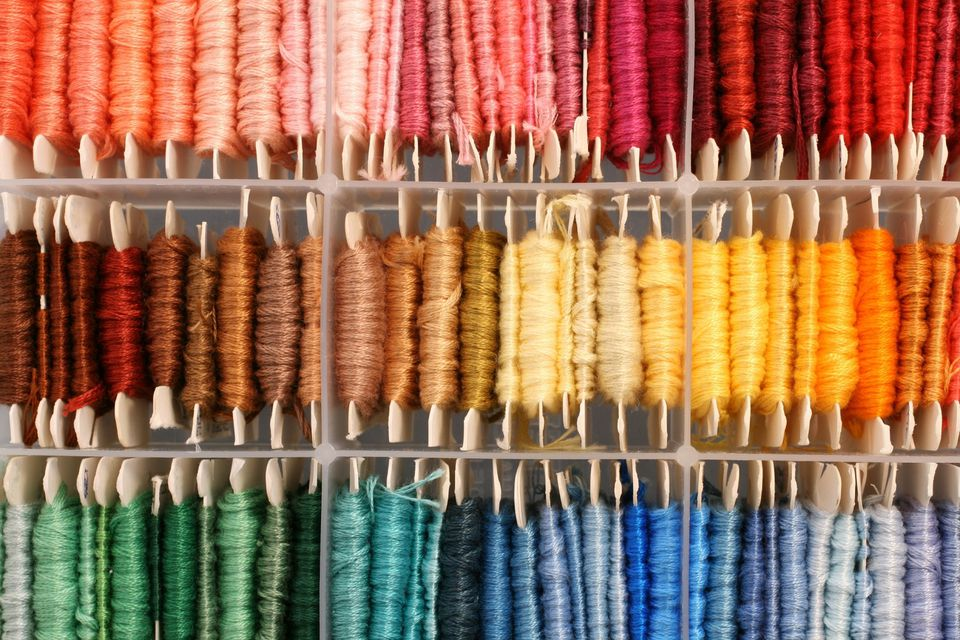 cards of colorful embroidery floss
