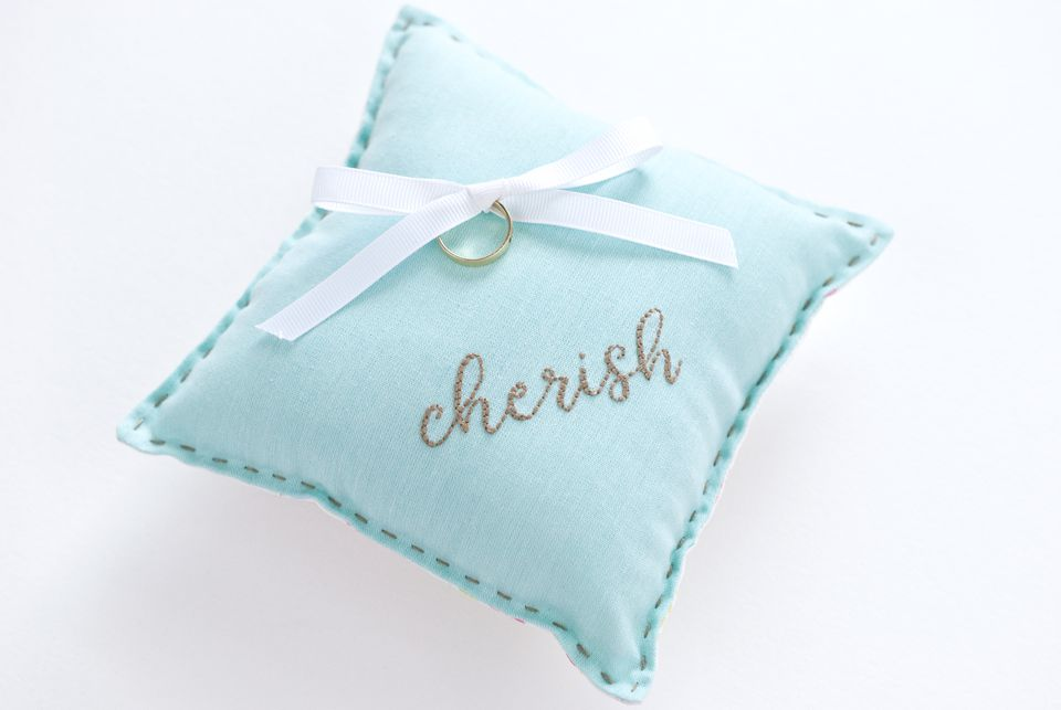 DIY Embroidered Ring Pillow