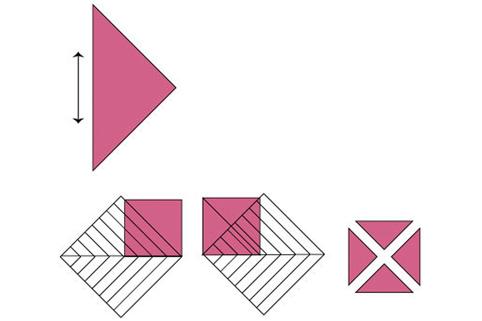 A diagram explaining how to rotary cut quarter square triangles