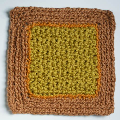 Multicolor Washcloth in Green and Earthtone