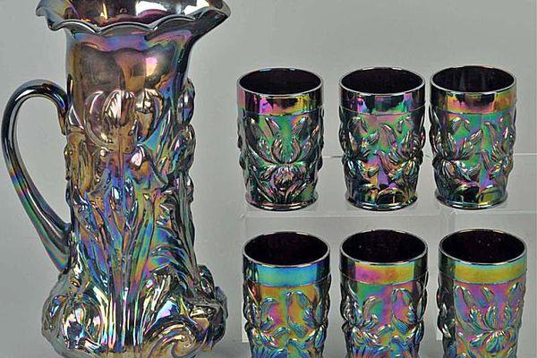 Carnival Glass Dugan Iris Tankard & Glass Set