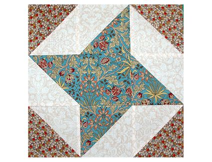 Evening Star Quilt Block Pattern With Nine Patch Centers
