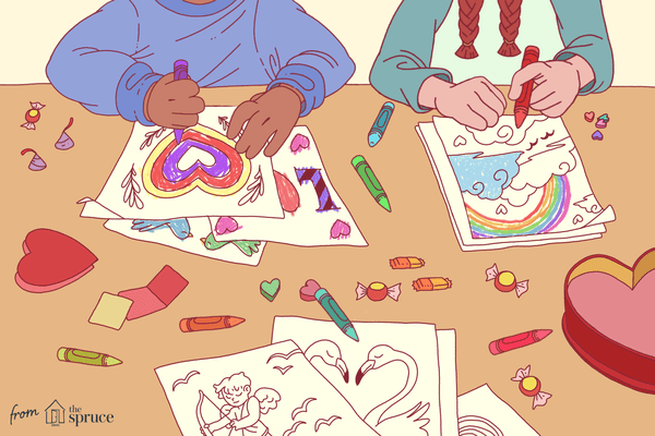 An illustration of kids coloring Valentine's Day coloring pages