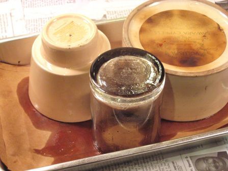 Containers with wax melted out