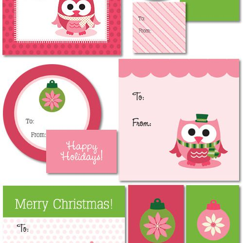 my owl barns merry xmas gift tags