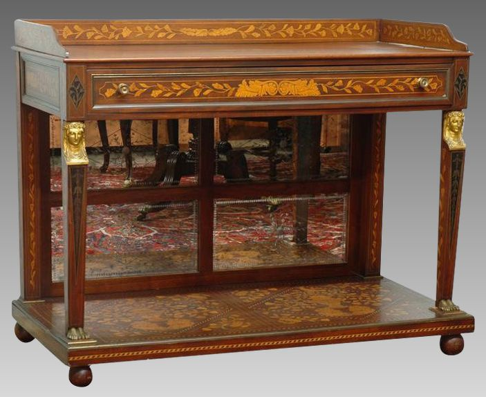 19th Century American Console Server With Ball Feet