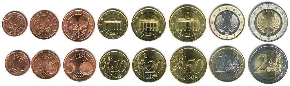 These coins are currently circulating in Germany as money.