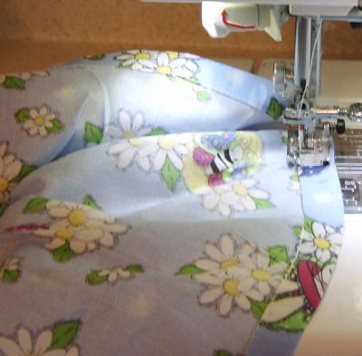 Sewing the elastic casing