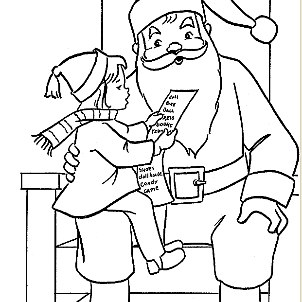 picture of a santa coloring page with a girl on santas lap
