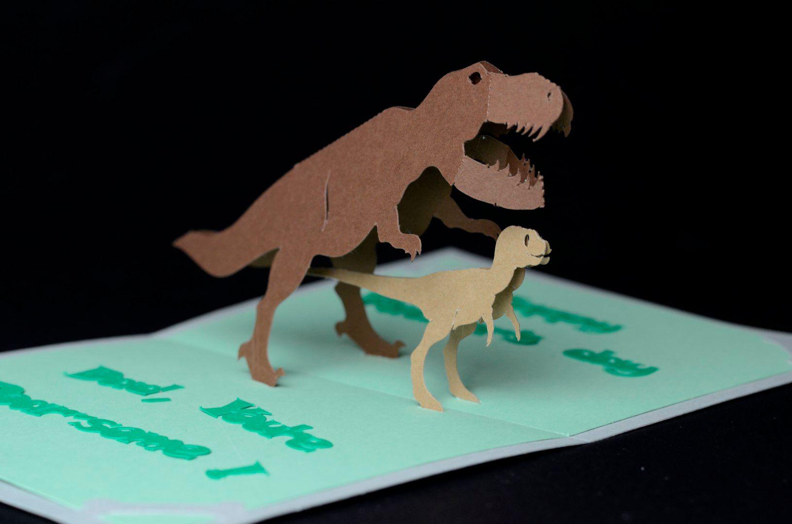 T Rex dinosaur pop up card