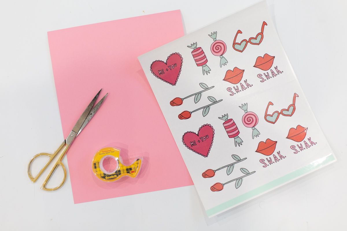 Materials for printable Valentine's Day tattoos