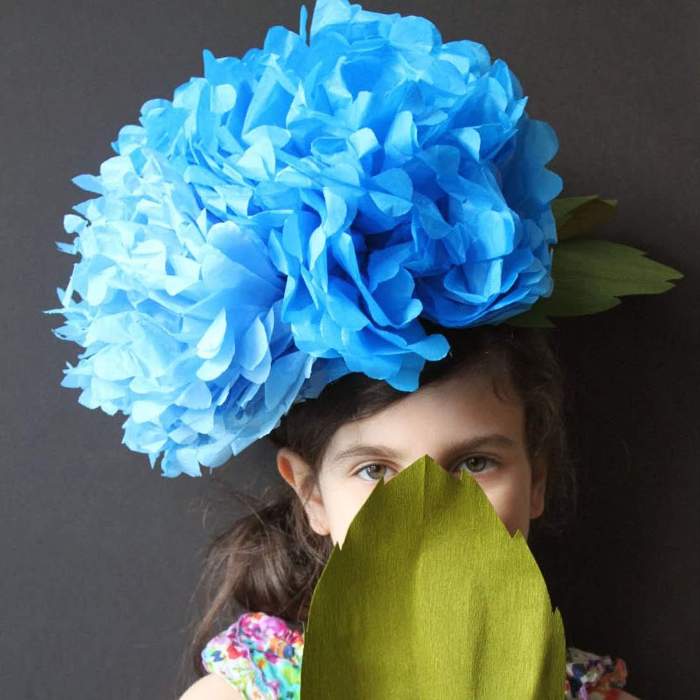 crepe paper hydrangea headpieces