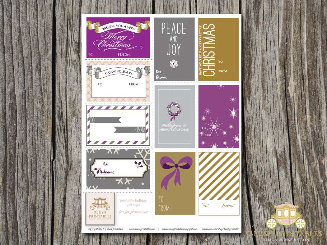 Purple, silver, and yellow Christmas gift tags.