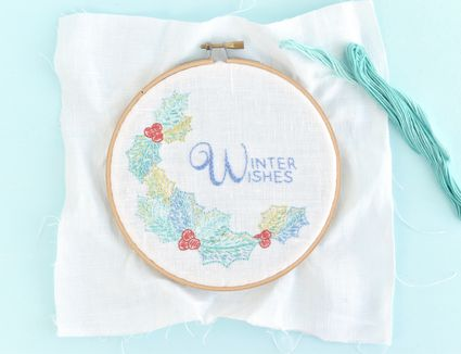 Winter Wishes Holly Embroidery Design