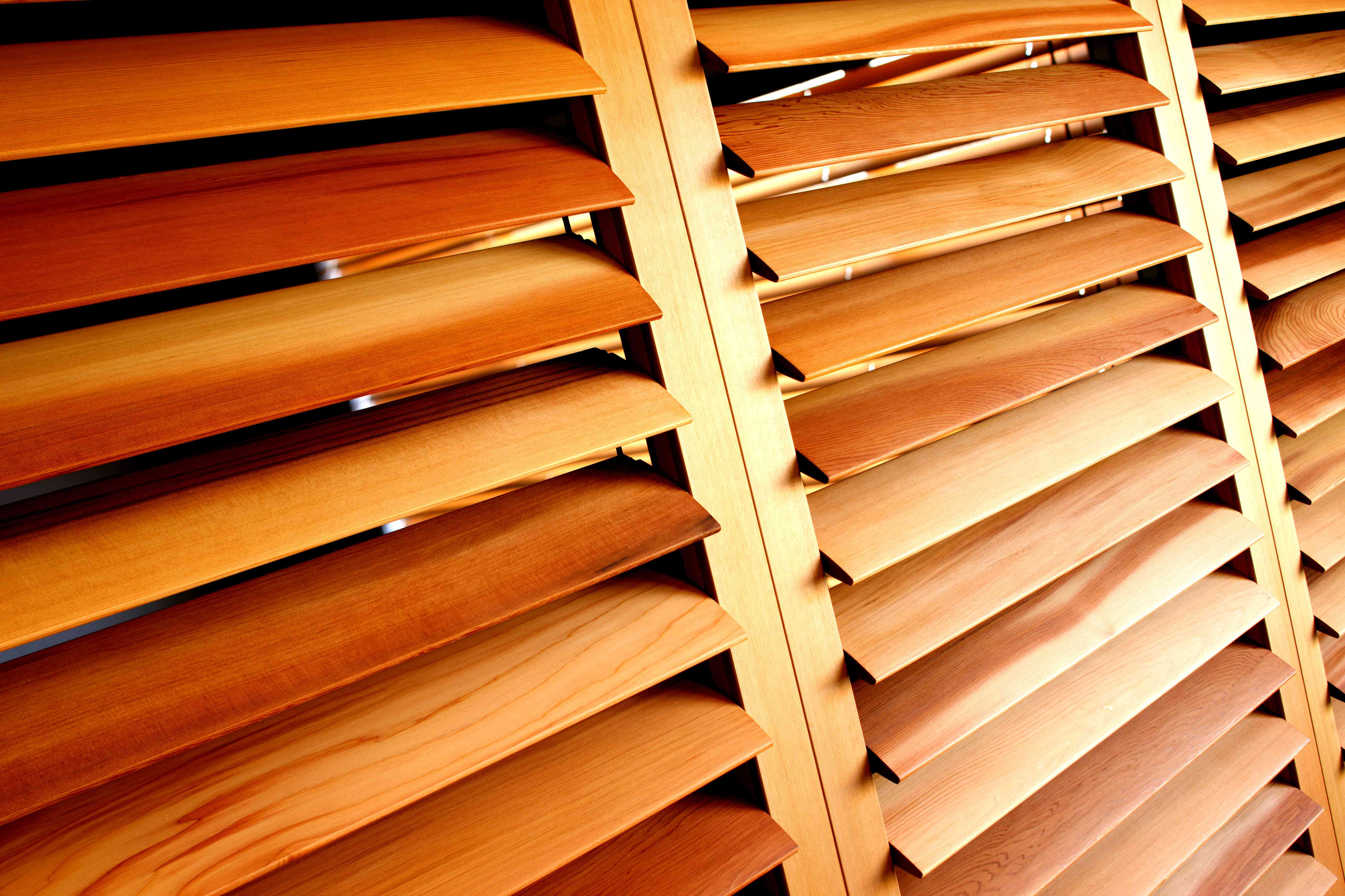 Louvered shutters made from western red cedar