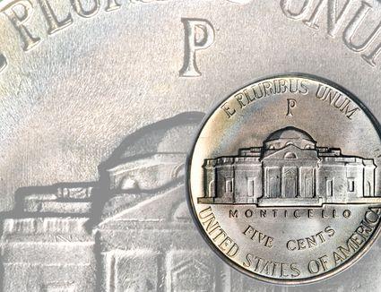 Jefferson war nickel minted between 1942 and 1945.