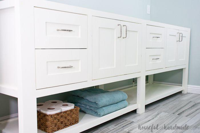 A white mission style DIY bathroom vanity