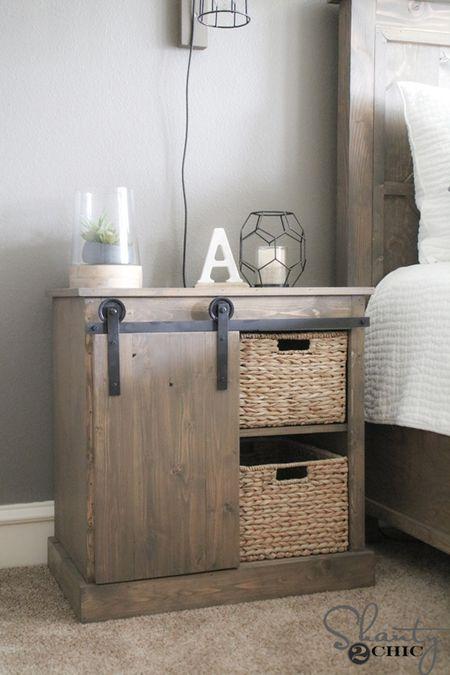 A DIY Nightstand Featuring Sliding Barn Door
