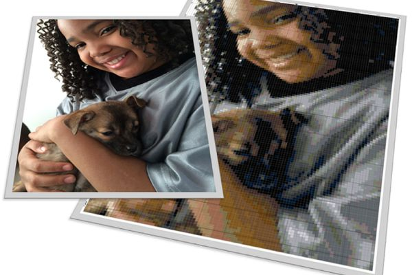 little girl with puppy photo and needlepoint design