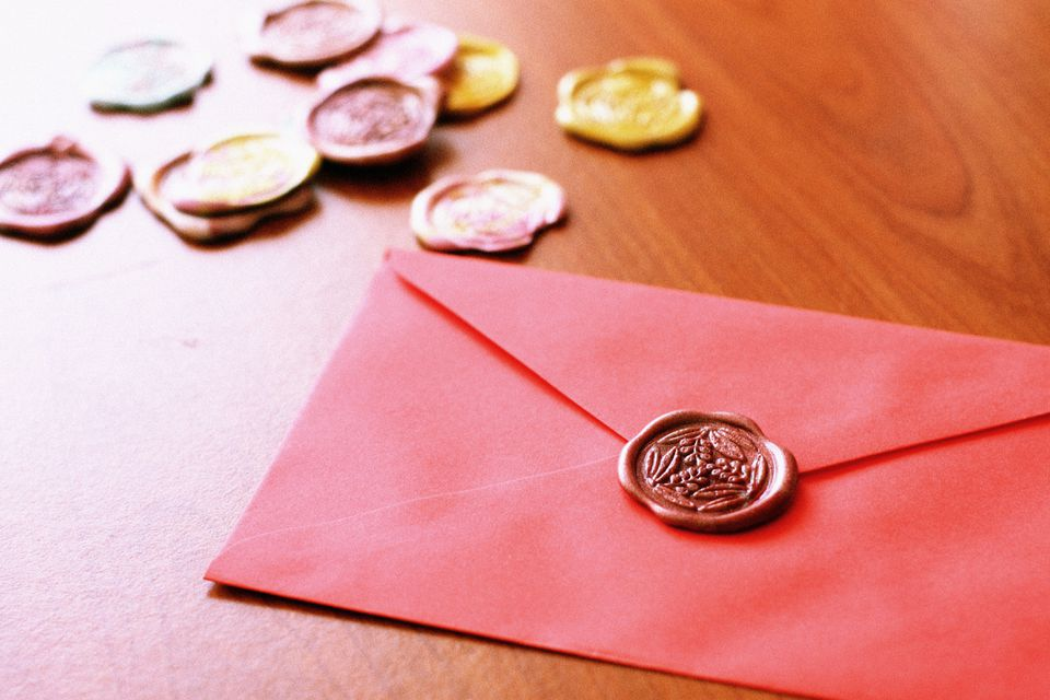 Embossed stamps and a letter
