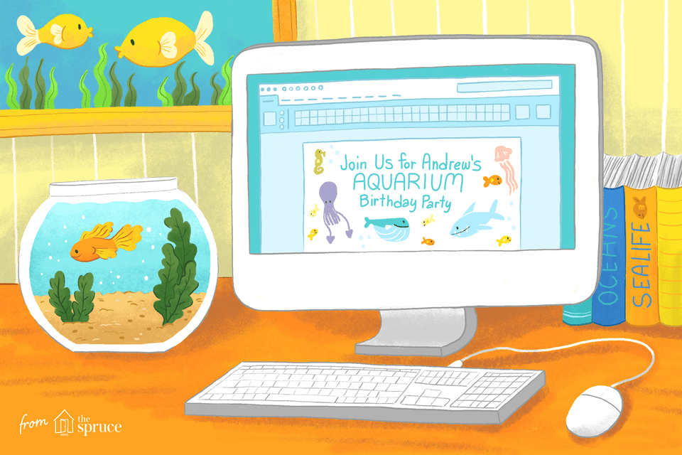 A computer next to a fish bowl and aquatic life books with an aquarium birthday party invite on the screen