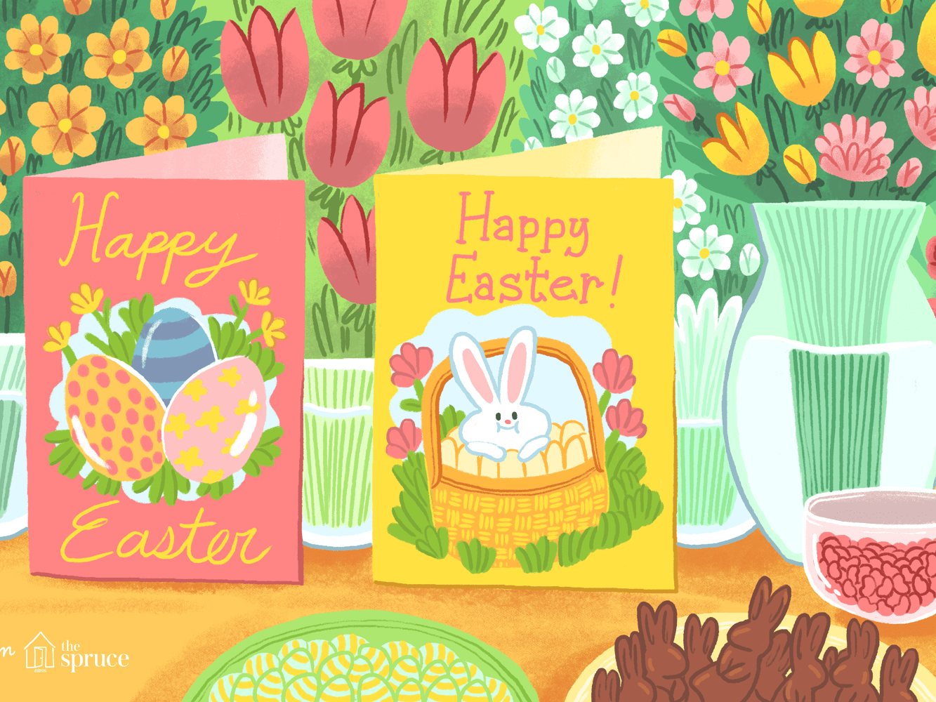 10 Handmade Easter Bunny Tails Mini Square Note Cards with Envelopes