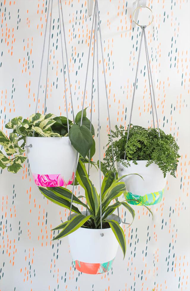 marbelized flower pots