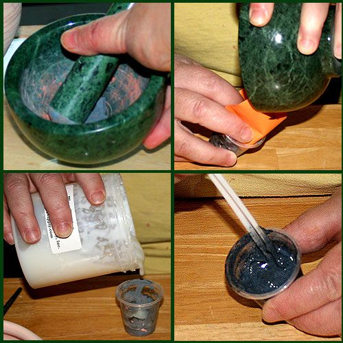 A potter mixes dried underglaze into wax resist to produce a colored wax resist used in decoration.