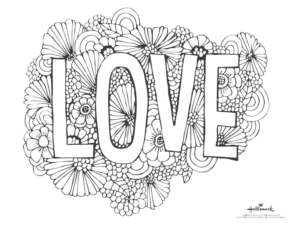 "A Valentine's Day coloring page with the word ""Love"" and flower blooms"