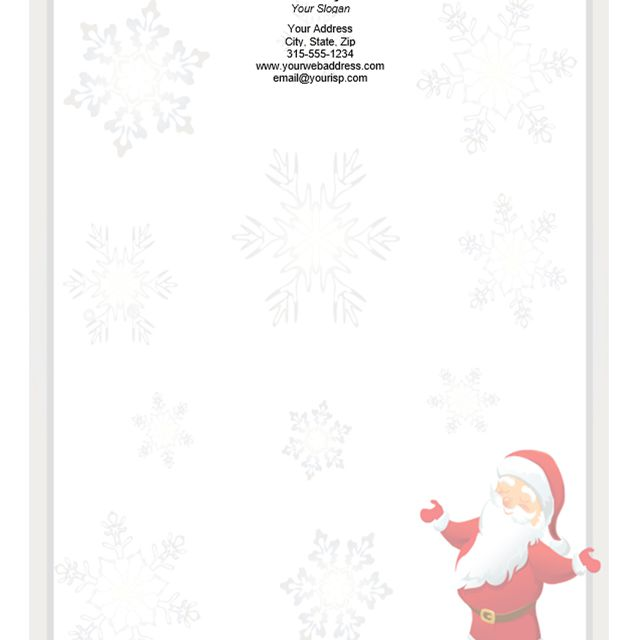 Christmas stationery with Santa and snowflakes