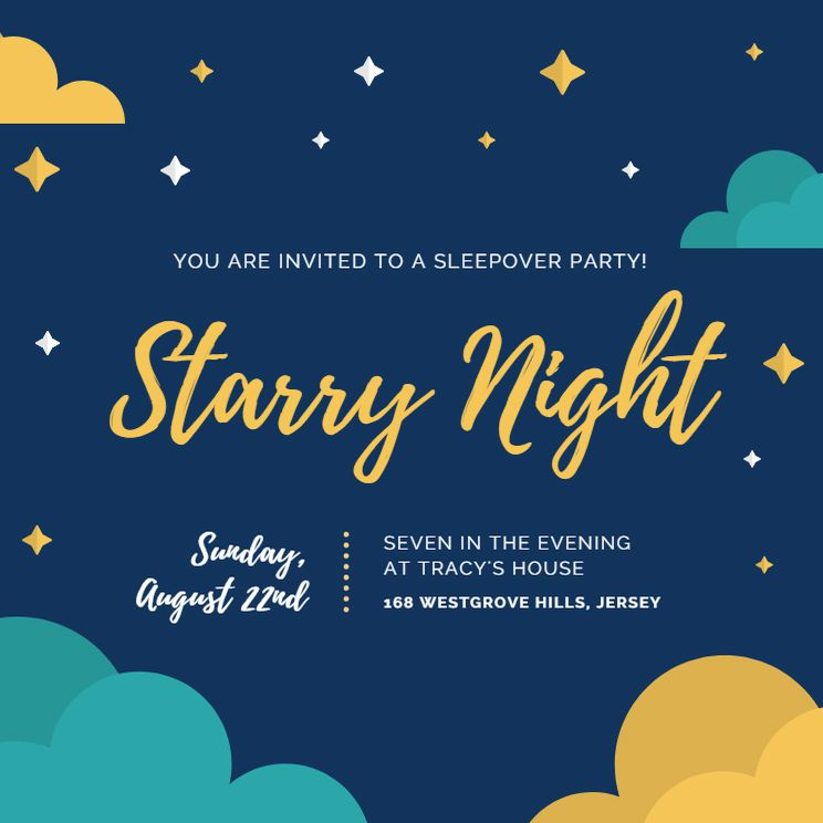 A Blue And Yellow Sleepover Invitation