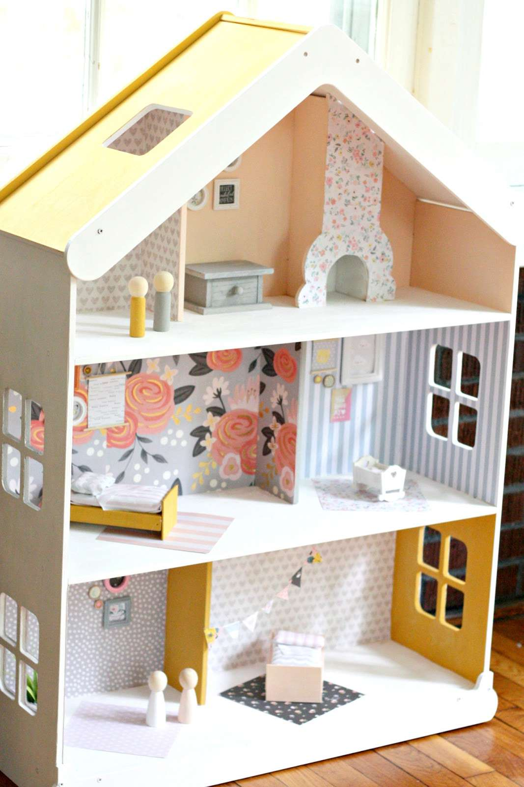 The inside of a modern DIY dollhouse