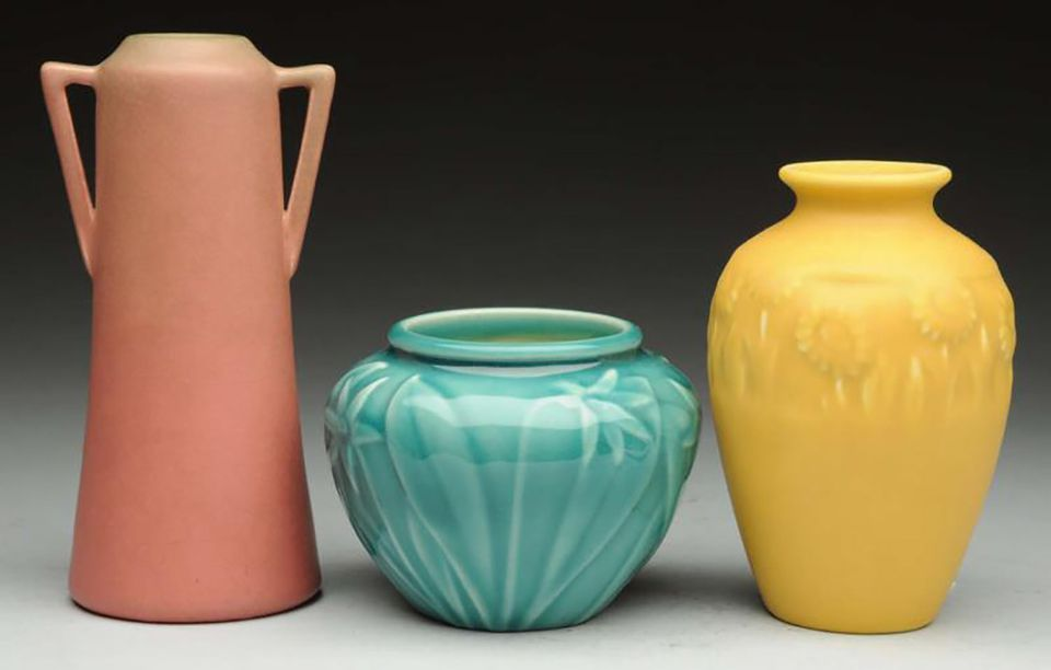 Rookwood vases dating to 1918, 1941, and 1930 (left to right).