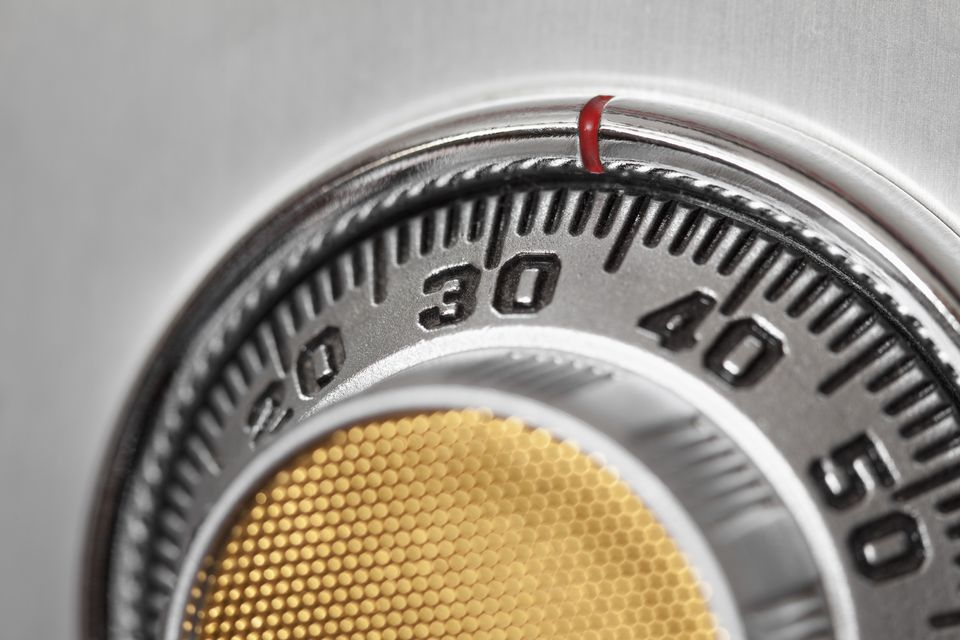 Close-Up of a Safe Combination Lock Dial