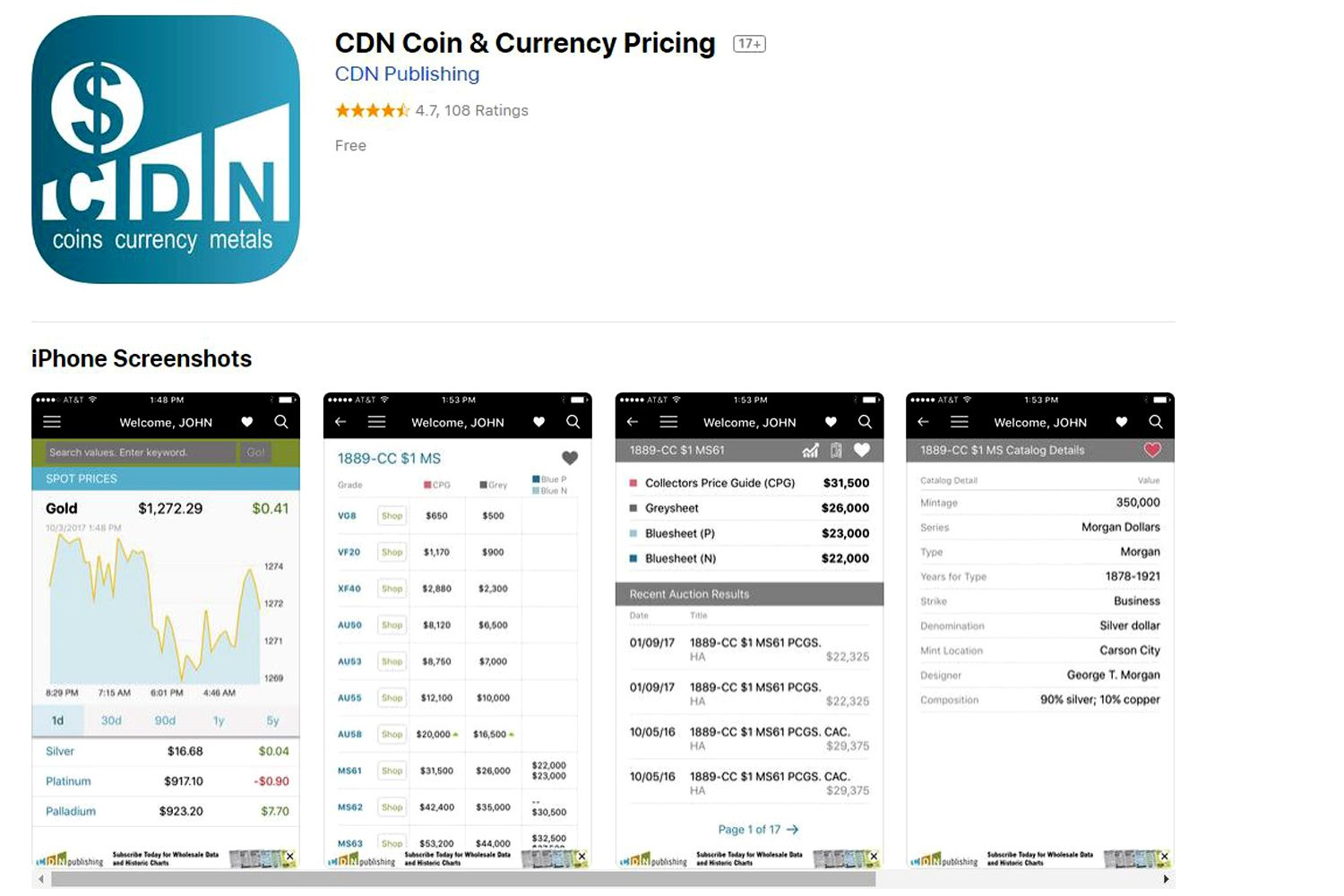 CDN coin and currency pricing