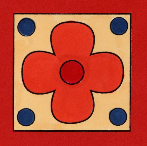 Flower Tile Digital Stamp