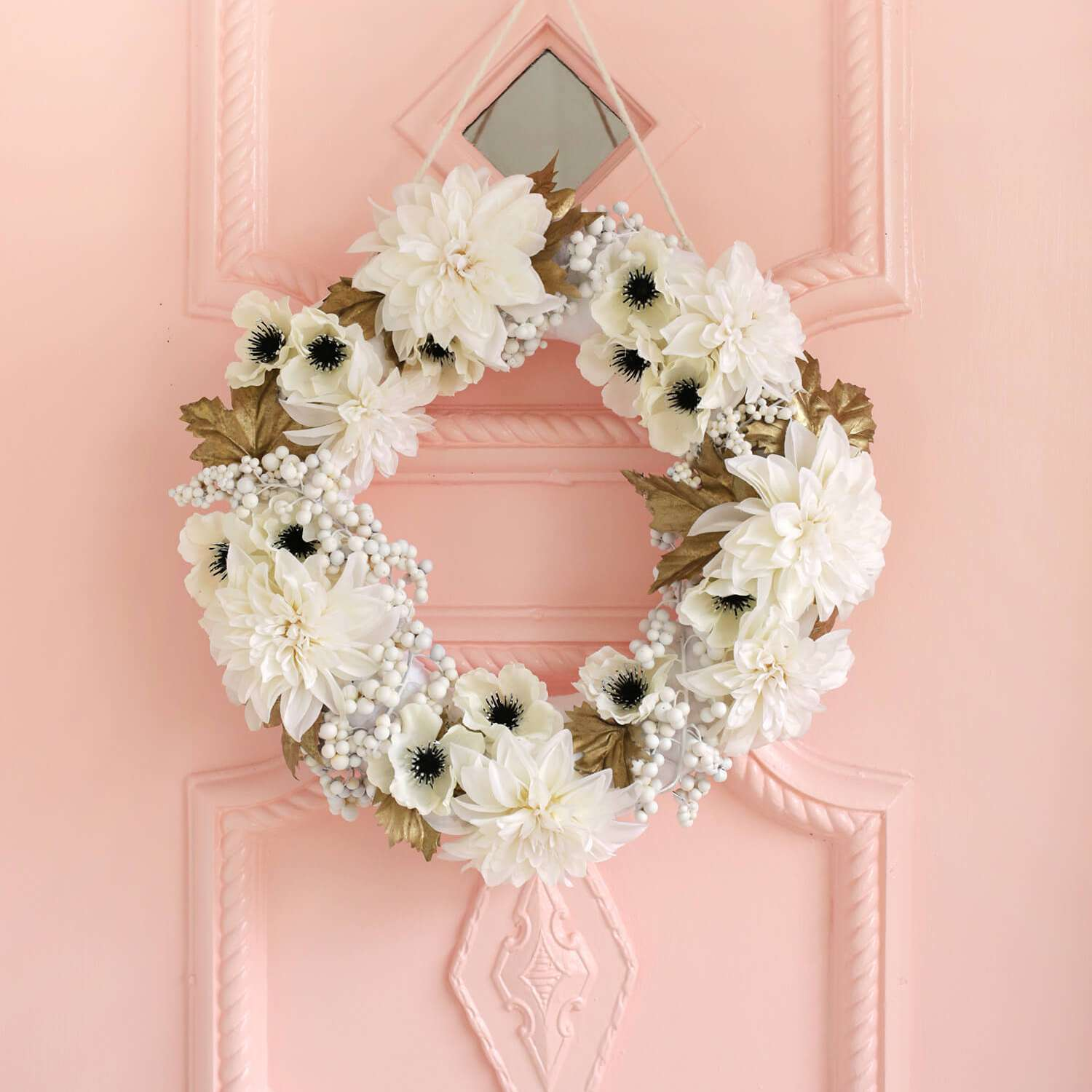 White and Gold Floral Wreath