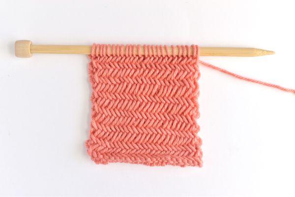 Herringbone Knitting Stitch Tutorial Swatch