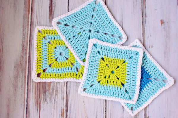 Blue and Green Crocheted Squares