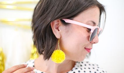 DIY Pompom Dangle Earrings