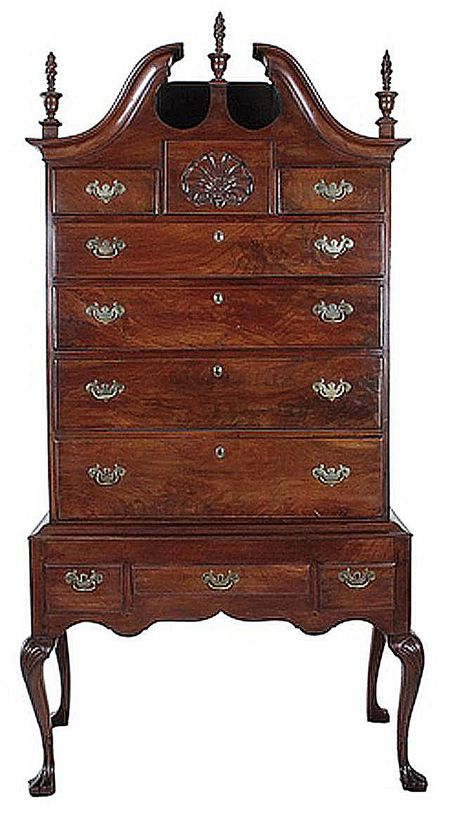 Queen Anne Highboy Example - Examples Of Queen Anne Style Antique Furniture