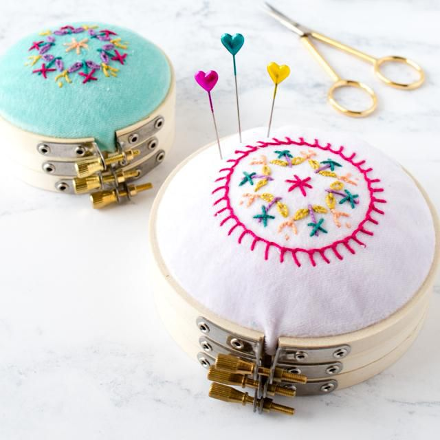 DIY Stacked Embroidery Hoop Pincushion