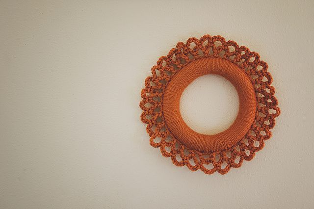 A simple crochet wreath adds color pop to your home