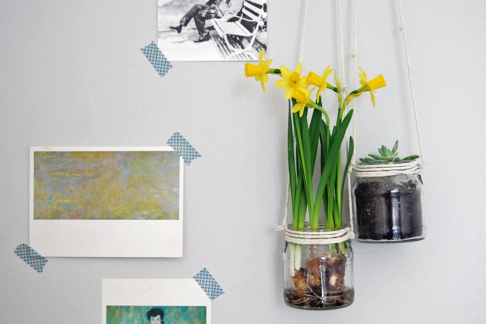 DIY hanging string planter