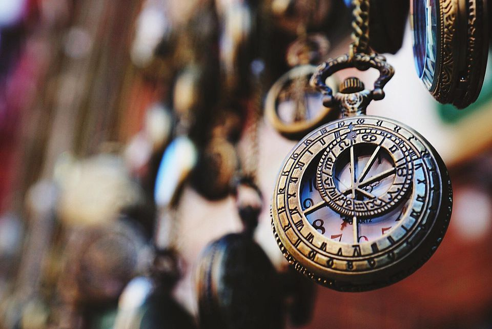 Close-up of an antique pocket watch